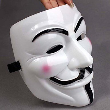 [GUCHENGLANGZI Thicken White Mask V For Vendetta Full Face Scary Cosplay Gadgets for Halloween Costume] (Zipper Face Costume Makeup)