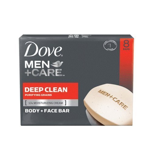 Dove Men+Care Body and Face Bar Deep Clean Scent, 8 Count (4 Oz bars) - 4 Pack =…