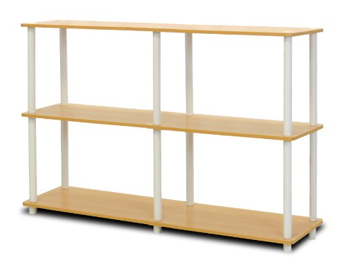 Furinno 99130BE/WH Turn-N-Tube 3-Tier Double Size Storage Display Rack, Beech/White Kids 3 Shelf Bookcase