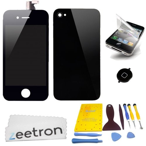 Zeetron© Black Iphone 4S Colorswap Color Conversion Diy Kit (Includes A Glass Screen Lcd Aseembly + Home Button + Back Door Assembly + Full Tool Kit & Screw Mat + Screen Protector + Zeetron Microfiber Cloth) (Do It Yourself Kit)
