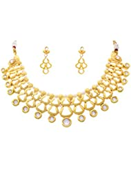 JFL - Royal & Ravishing One Gram Gold Plated Kundan Pearl Designer Necklace Set For Girls And Women.