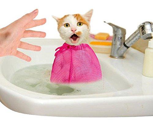 猫 おりこうさん ネコ ちゃん 用 多機能 洗浄 固定 バッグ 爪切り お風呂 などに … (紅色)