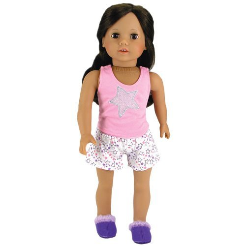 18 Inch Doll Pajamas 2 Pc. Set Fits 18 Inch American Girl Dolls & More! (Doll Shoes sold separately) Stars Doll PJ's Tank Top & Shorts Set