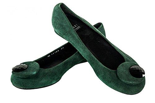 Scarpe donna STUART WEITZMAN ballerine N.36 in pelle camoscio verde X1120