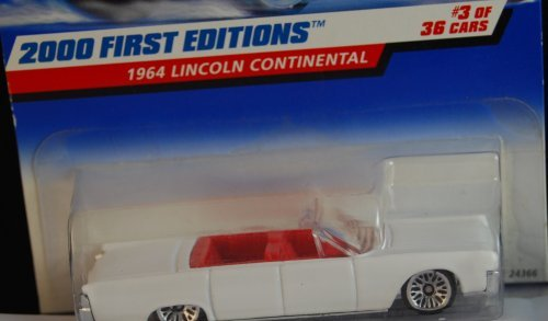 Mattel Hot Wheels 2000 First Editions 1:64 Scale White 1964 Lincoln Continental Die Cast Car #003 - 1