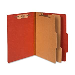 ACCO 15036 ACCO Pressboard 25-Point Classification Folder, Ltr, 6-Section, Earth Red, 10/Bx