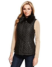 M&S Collection Pure Cotton Faux Fur Quilted Gilet