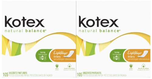 Kotex Lightdays Long Unscented Liners-105 ct, 2 pk