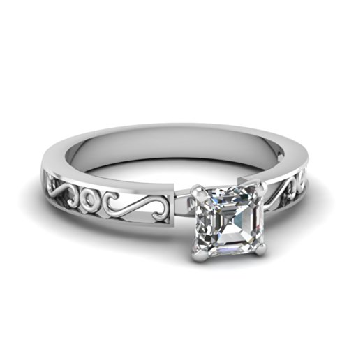 Fascinating Diamonds 0.75 Ct Asscher Cut Flawless Diamond Hand Engraved Solitaire Engagement Ring 14K Gia