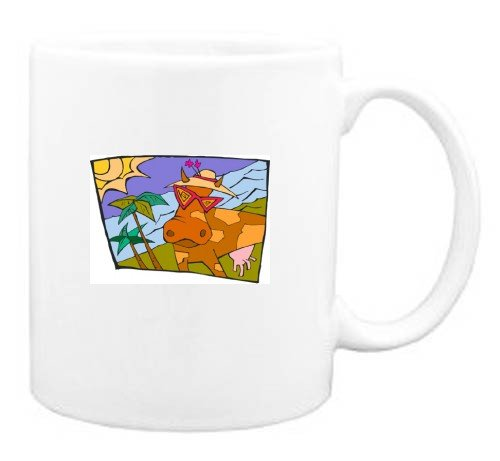 Mug with cow, sunglasses, spots, beach, vacation