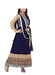 Kimberly Women's Georgette Embroidered Anarkali Embroidered Semi-Stitched Salwar Suit (SRA-03_Blue)