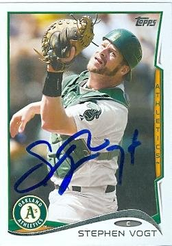 Stephen Vogt autographed baseball card (Oakland Athletics) 2014 Topps #US-40 Rookie Card