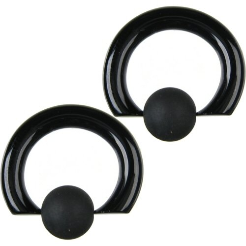 Pair of Glass Tapered Captive Bead Rings with Rubber Bead: 6g 5/8