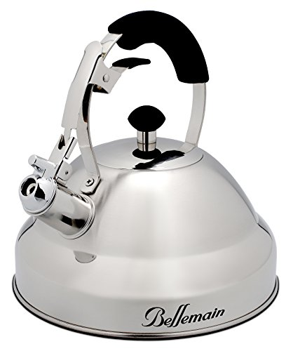 Extra Sturdy Surgical Stainless Steel 2.75 Quart Bellemain Whistling Kettle with Aluminum Layered Bottom