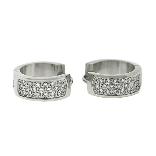Ladies Stainless Steel Silver Tone 3 Tier White Crystal Hoop Huggies Earrings