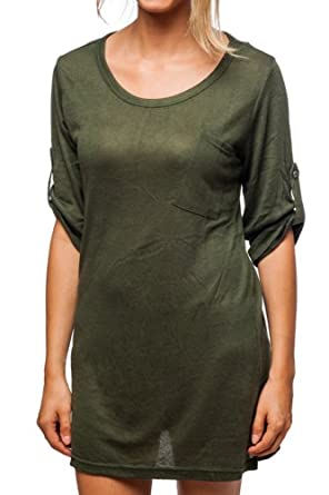 10e27dd52 Hanna G. Womens Scoop Neck Fashion T-Shirt Olive Small