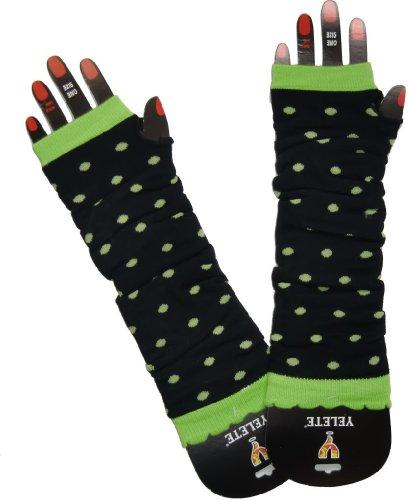 Arm Warmers Polka Dots Black Green
