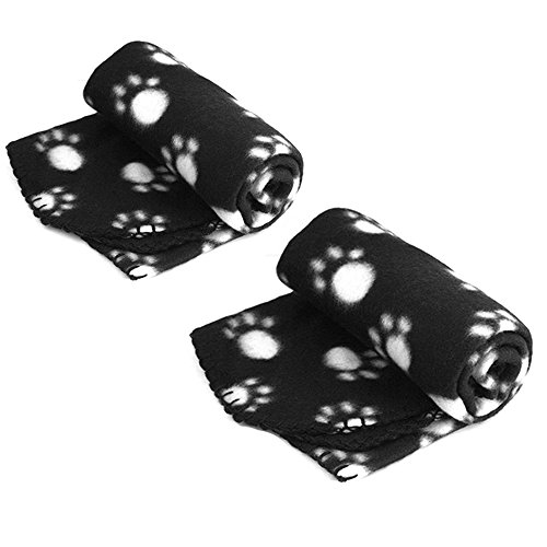Pet Dog Cat Blanket Mat Bed with Paw Prints Black – 2 Pack