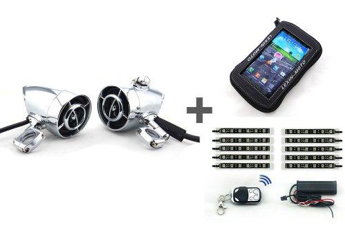 Bullet Shape Waterproof Bluetooth Audio+Large Motorcycle Tank Bag+15 Color Led Motor Light Kit