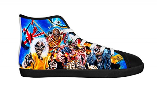 Rock Band Iron Maiden Men's Canvas Shoes Men Black High Top Canvas Shoes-11M US