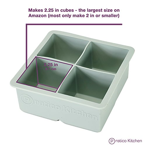 Large Ice Cube Mold - Makes 4 Jumbo 2.25 Inch Big Ice Cubes - Prevent Diluting Your Scotch, Whiskey, & Cocktails - Keep Drinks Chilled with Praticube Large Ice Cube Trays - 2 Pack