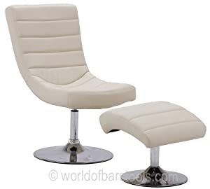 Contemporary Swivel Chair And Foot Stool Cream       Customer review and more information
