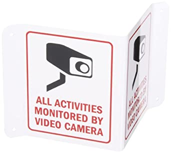 """SmartSign Projecting Aluminum V-Sign, Legend """"All Activities Monitored by Video Camera"""", 6"""" high with 5"""" wide panels, Black/Red on White"""