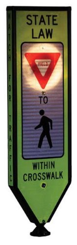 Solestrian, Yield, Illuminated 4-Sided In-Road Crosswalk Sign, Solar Powered, Fixed Base & Qr Pin