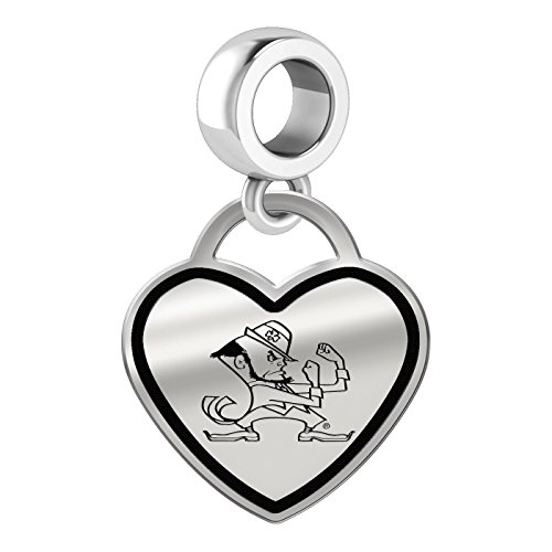 University of Notre Dame Fighting Irish Border Heart Dangle Charm Fits All Beaded Charm Bracelets