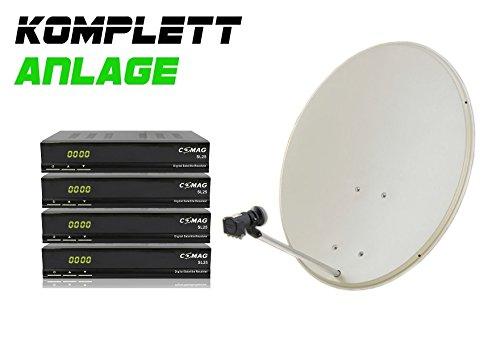 COMAG Digitale 4-Teilnehmer Satelliten-Anlage Komplett-Set mit 4x SL25 (Inklusive: 4x Digitaler Sat Receiver, Quattris LNB, 80er Stahlantenne, Masthalterung)
