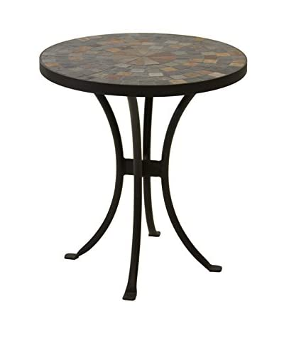 Outdoor Interiors 24 Round Slate Mosaic Accent Table, Dark Brown/Charcoal As You See