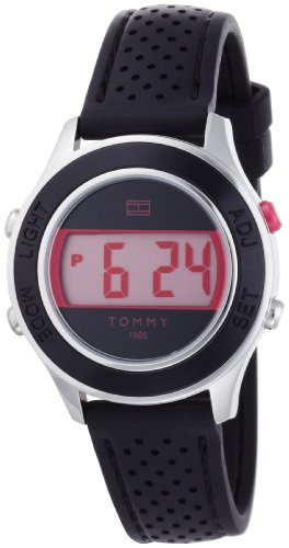 Tommy Hilfiger Women's 1781026 Digital Stainless Steel and Black Silicon Bezel with Pink Back Lighting Strap Watch