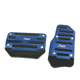 2 Pcs Black Blue Plastic Metal Nonslip Pedal Cover Set for Car