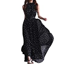 NSSTAR Womens Polka Dots Long Boho Chiffon Dress