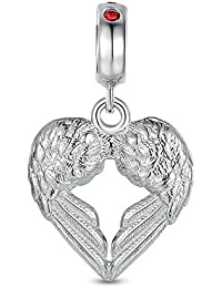 Heart Angel Wing Charm 925 Sterling Silver Red Crystal Dangle European Bead