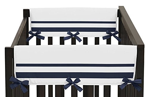 White-and-Navy-Modern-Hotel-Teething-Protector-Cover-Wrap-Baby-Unisex-Boy-or-Girl-Crib-Side-Rail-Guards-Set-of-2