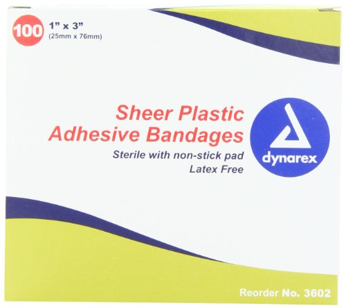 Dynarex Adhesive Sheer Strips Bandage, Sterile, 1 Inches X 3