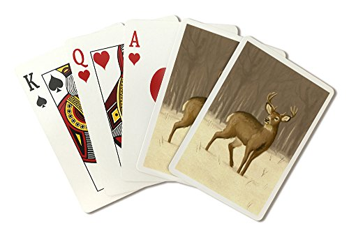 White-Tailed Deer - Oil Painting (Playing Card Deck - 52 Card Poker Size with Jokers)