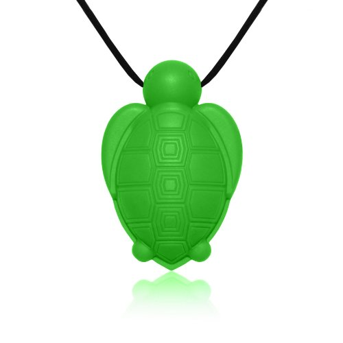 Siliconies Turtle Pendant - Silicone Necklace (Teething/Nursing/Sensory)(Green)
