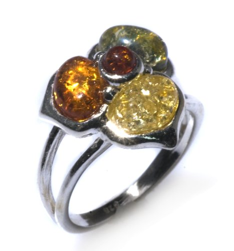 Sterling Silver Multi-Color Amber May Collection Ring, Size 7