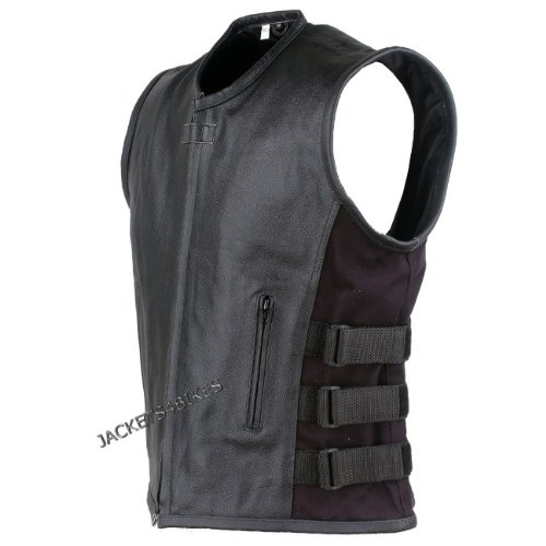 NEW BIKER MOTORCYCLE LEATHER VEST STYLISH BLACK L