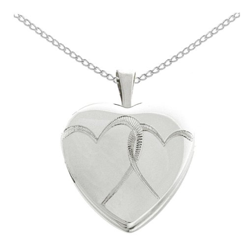 Sterling Silver Double Hearts Locket Pendant Necklace, 18