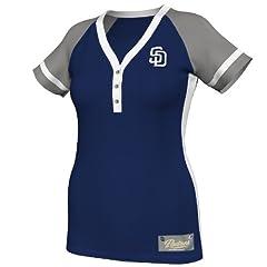 MLB San Diego Padres Ladies Diamond Diva Fashion Top, Navy Grey White by Majestic