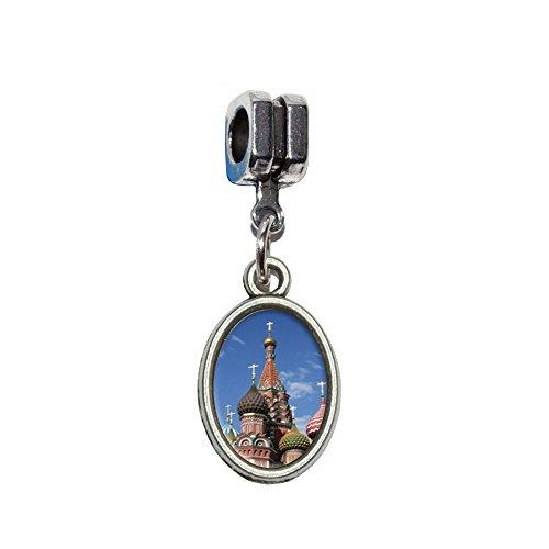 KreML St Basil's Cathedral Russland, Rot, quadratisch, italienische Europäischen Euro-Stil, für Armbänder von Pandora, Biagi, Troll, Chamilia und andere