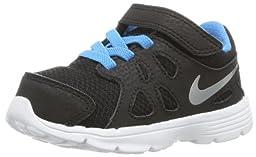 Nike Kids Baby Boy\'s Revolution 2 (Infant/Toddler) (10 M US Toddler, Black/Vivid Blue/White/Metallic Silver)