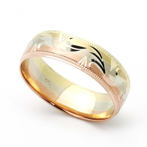 wedding rings for discount 14k tri color gold 6mm