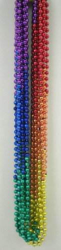 33 inch 7mm Round Metallic Rainbow 6 Section Mardi Gras Beads - 6 Dozen (72 necklaces)