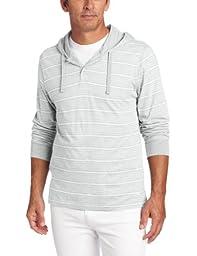 Tommy Bahama Men\'s Cotton Modal Jersey Hoodie, Pale Heather Grey Stripe, Small
