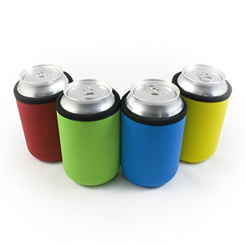 Beer Can Coolies - 4mm Thick - Easy-On Supercoolies™ - Premium Set of 4 Assorted Collapsible Can Coolies - Red, Green, Blue, Yellow - Extra Thick Neoprene with Stitched Fabric Edges (Foam Can Coozie compare prices)
