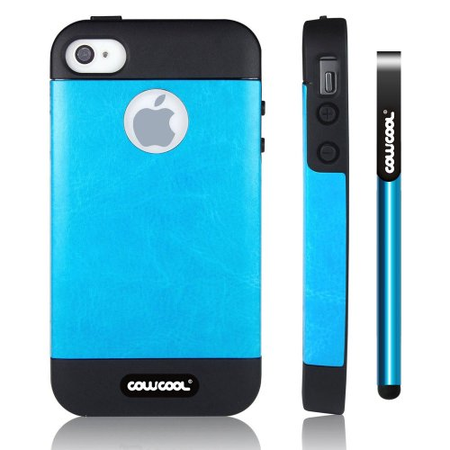 CowCool® Iphone 4 4S Case Pu Leather Leather Texture Double Layer Protective Case For Apple Iphone 4 4S(Sky Blue)